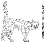 wireframe cat silhouette. low... | Shutterstock .eps vector #583457134