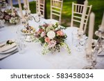 beautiful bouquet on the table... | Shutterstock . vector #583458034