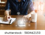 businessman holding smartphone  ... | Shutterstock . vector #583462153