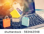 five colorful paper shopping... | Shutterstock . vector #583463548