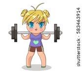 chibi girl go in for sports.... | Shutterstock .eps vector #583463914