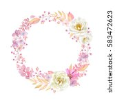 cute wreath with leaves  white... | Shutterstock .eps vector #583472623