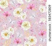 seamless spring pattern with... | Shutterstock .eps vector #583472809