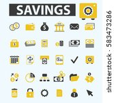 savings icons  | Shutterstock .eps vector #583473286
