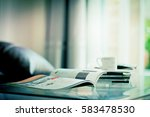 selective focus of the stacking ... | Shutterstock . vector #583478530