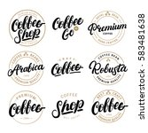 set of coffee hand written... | Shutterstock .eps vector #583481638