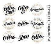 Set Of Coffee Hand Written...