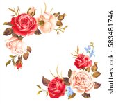 Stock vector borders with white and red roses on white background vector illustration 583481746
