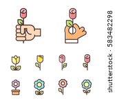 set of flower line icons. color ... | Shutterstock .eps vector #583482298