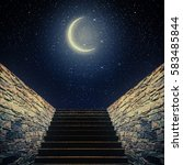 staircase rises to the moon in... | Shutterstock . vector #583485844