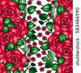 seamless pattern with red roses ... | Shutterstock .eps vector #583486990