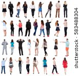collection back view people .... | Shutterstock . vector #583488304