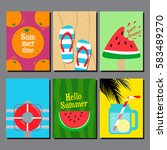 collection of summer  flat... | Shutterstock .eps vector #583489270