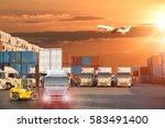 industrial container cargo... | Shutterstock . vector #583491400