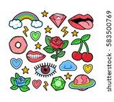 90s inspired patch collection.... | Shutterstock .eps vector #583500769