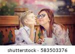 mother with son having... | Shutterstock . vector #583503376