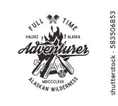 adventurer vintage label with... | Shutterstock .eps vector #583506853