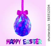 colorful low poly easter egg... | Shutterstock .eps vector #583512334