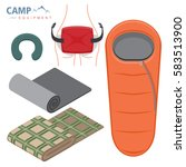sleeping bag  neck pillow and... | Shutterstock .eps vector #583513900