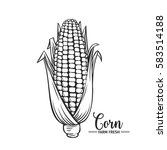 hand drawn corn icon. vector... | Shutterstock .eps vector #583514188