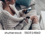 texting to boyfriend. close up... | Shutterstock . vector #583514860
