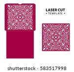 laser cut vector envelope card... | Shutterstock .eps vector #583517998
