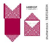 laser cut vector envelope card... | Shutterstock .eps vector #583518034