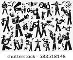 jazz band doodles | Shutterstock .eps vector #583518148