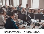 working day in creative office. ... | Shutterstock . vector #583520866