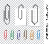set of metal and color clips... | Shutterstock .eps vector #583522840