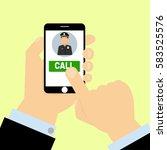 finger press on call police... | Shutterstock .eps vector #583525576