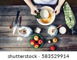 cooking food. the woman the... | Shutterstock . vector #583529914