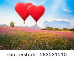 red heart air balloon over on... | Shutterstock . vector #583531510
