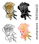 hand drawn pink rose doodle art ... | Shutterstock .eps vector #583536610
