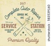 service station vintage label ... | Shutterstock . vector #583539160