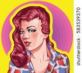 young woman vintage portrait ... | Shutterstock .eps vector #583539370
