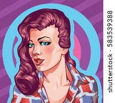 young woman vintage portrait ... | Shutterstock .eps vector #583539388