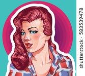 young woman vintage portrait ... | Shutterstock .eps vector #583539478