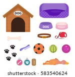 dogs stuff icon set with... | Shutterstock .eps vector #583540624