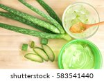 sliced and leaf of fresh aloe... | Shutterstock . vector #583541440