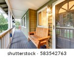covered front porch with rustic ... | Shutterstock . vector #583542763