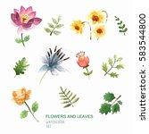 set of watercolor vector... | Shutterstock .eps vector #583544800