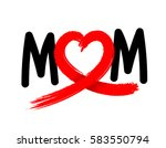 mom letters with abstract heart ... | Shutterstock .eps vector #583550794