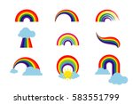 rainbow set isolated on white... | Shutterstock .eps vector #583551799