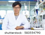 one male chinese laboratory... | Shutterstock . vector #583554790