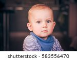 cute serious one year old... | Shutterstock . vector #583556470