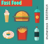 street city food flat design.... | Shutterstock .eps vector #583559614