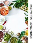 healthy dinner ingredients food ... | Shutterstock . vector #583560553