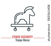 troy horse thin line icon.... | Shutterstock .eps vector #583561408