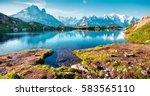 colorful summer view of the lac ... | Shutterstock . vector #583565110